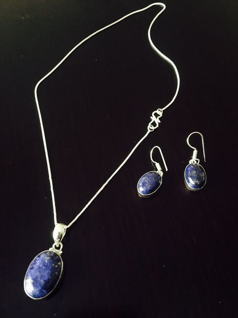 Silver toned Drop Pendant set with Blue Cut stone & ear rings