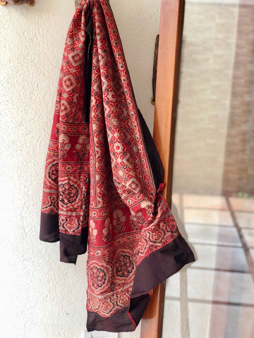 Red Hand Block Print Ajrak Stole - Design 1