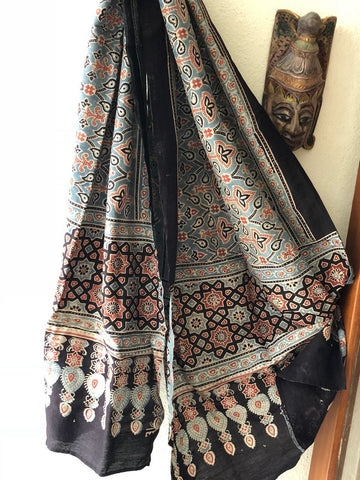 Greenish Grey Hand Block Print Ajrak Stole