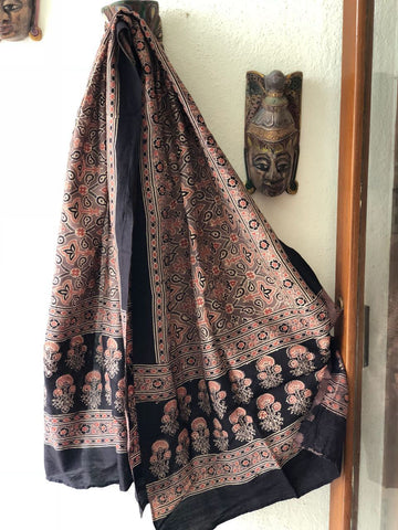 Light Brown Hand Block Print Ajrak Stole