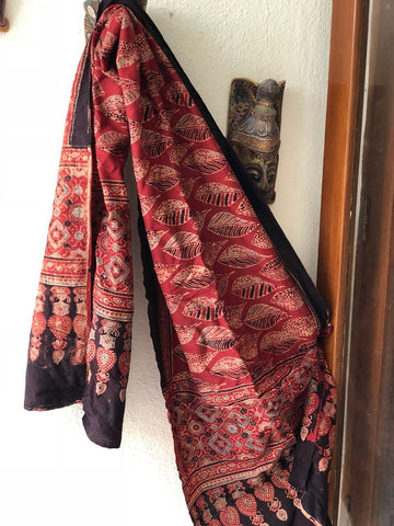 Red Hand Block Print Ajrak Stole - Design 2