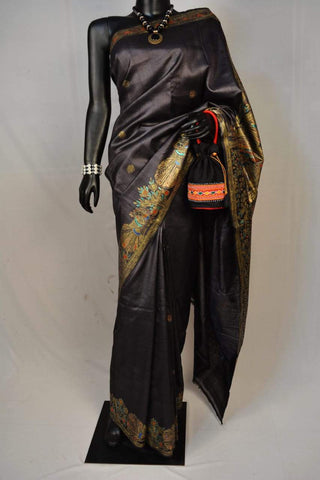 Black Tussar Silk Madhubani Handpainted Saree