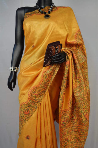 Mustard Golden Tussar Handpainted Madhubani Silk Saree