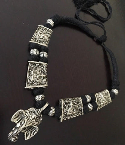Ganesh Pendant with Black Thread work Neckpiece