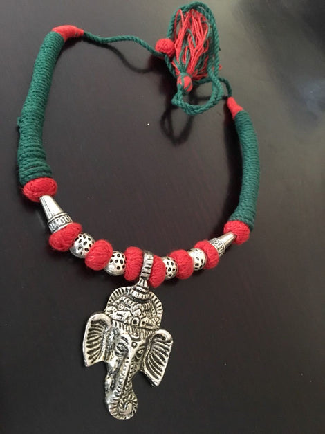 Ganesh Pendant with Sea Green & Red Thread work Neckpiece