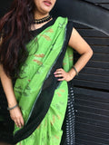 Green with Black Border Ikkat Cotton Saree