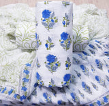 Blue floral hand block prints on White based Cotton Dress material