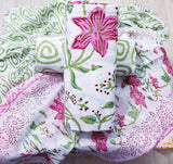 Pink and Green floral hand block prints on White based Cotton Dress material