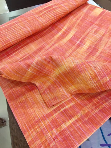 Orange khadi cotton fabric