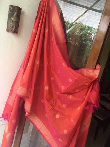 Peachish banarasi silk dupatta