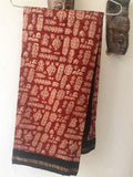 Handloom Beige and red chanderi silk cotton saree