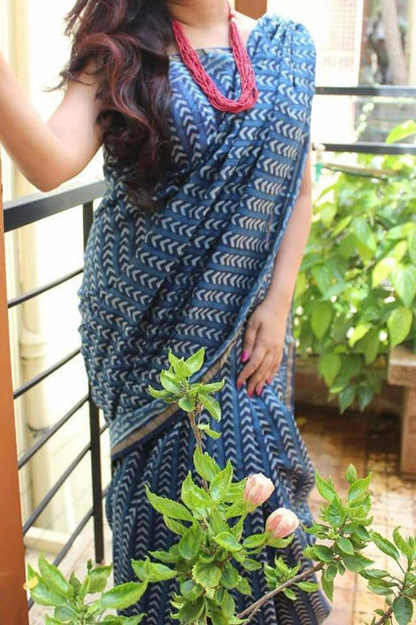 Arrow Indigo Handloom Chanderi Silk Cotton Saree