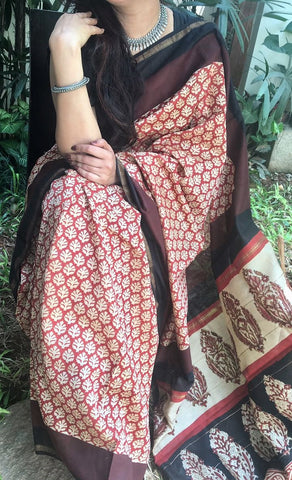 Handloom Beige and Brown Chanderi Silk Cotton Saree with floral motifs