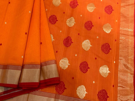 Orange Chanderi Silk Saree