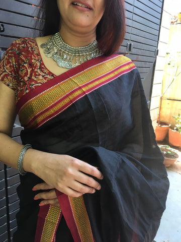 Black colour Ilkal handloom Saree