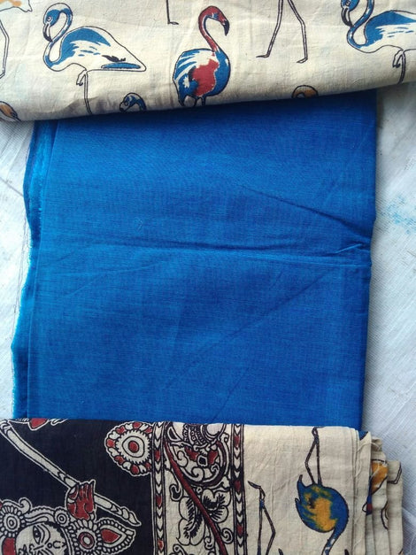 Blue and  Black cotton kalamkari dress material
