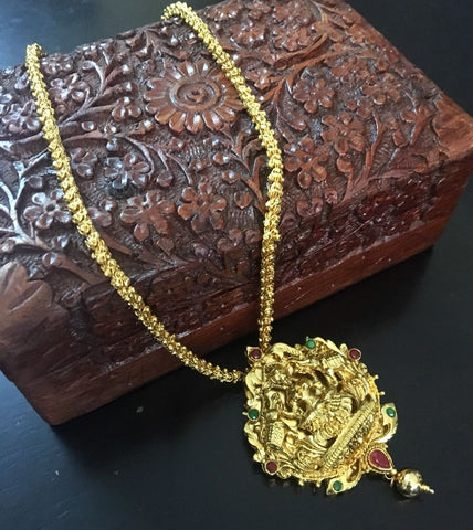 Elegant lakshmi pendant gold traditional temple jewellery set