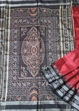 Deep Red with black khandua silk saree