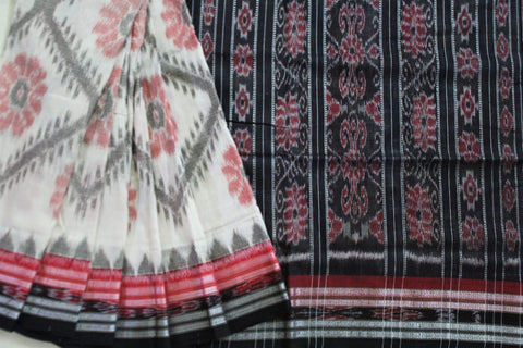 White ikkat sambalpuri cotton saree
