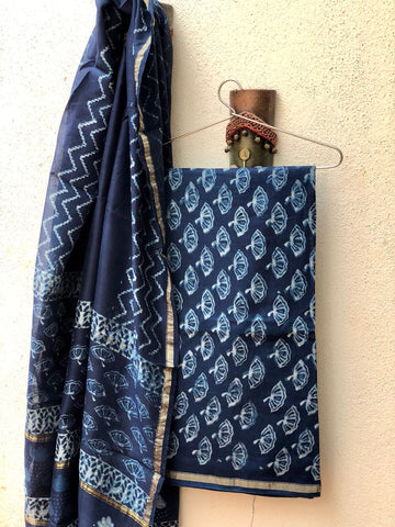 Floral  indigo hand printed cotton silk dress material