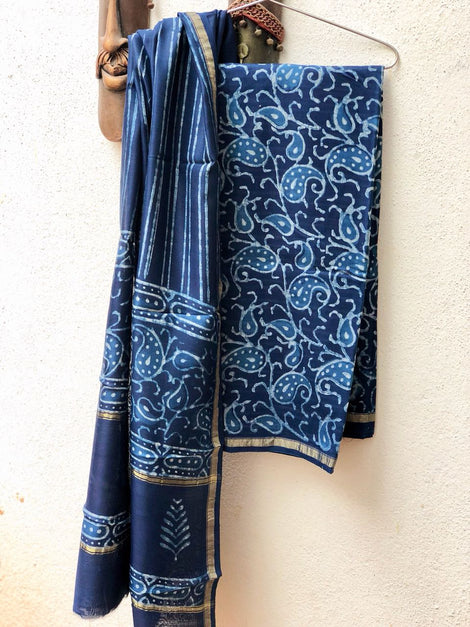 Mango Indigo hand printed cotton silk dress material
