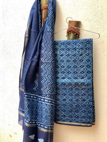 Geometric Indigo hand printed cotton silk dress material
