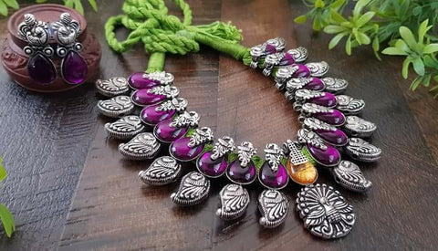 Pink stones peacock Necklace set with earring