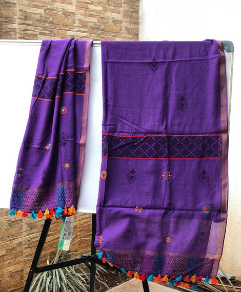 Dk. Violet print and embroidery Dupatta