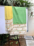 Green with yellow embroidered Cotton Dupatta
