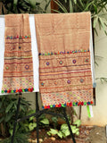 Beige and maroon cotton dupatta  with print and embroidery