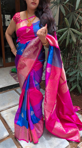 Mesmerizing blue with pink checks Banarasi Katan Silk Saree