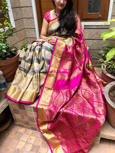 Beige with pink Banarasi tussar Silk Saree
