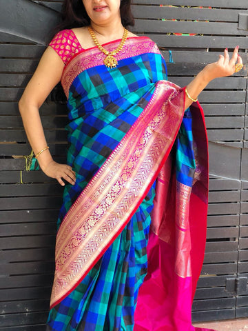 Checkered  Blue with rani pink Banarasi Katan Silk Saree