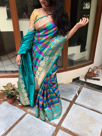 Checkered multicolour hues Banarasi Katan Silk Saree