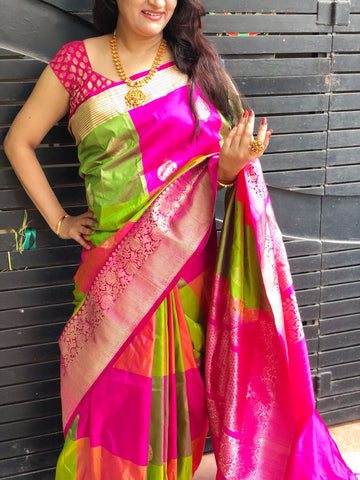 Parrot green with pink checks Banarasi Katan Silk Saree