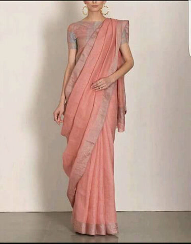 Light pinkish peach Linen Saree