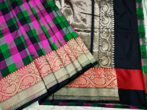 Chequered black with pink Banarasi Katan Silk Saree
