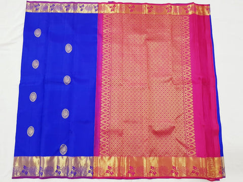 Royal blue with pink zari pallu Kanjeevaram Silk Saree