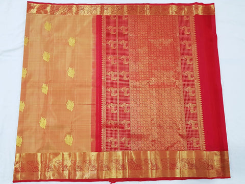 Peanut brown with red zari pallu Kanjeevaram Silk Saree