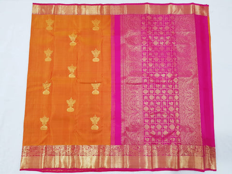 Gold fish orange  with pink zari pallu Kanjeevaram Silk Saree