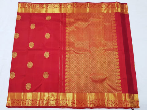 Cherry Red with gold zari pallu Kanjeevaram Silk Saree