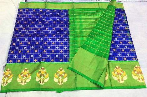 Green with pink chequered  ikkat silk saree with colour variants