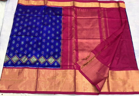 Vibrant blue with pink wide border double  ikkat silk saree