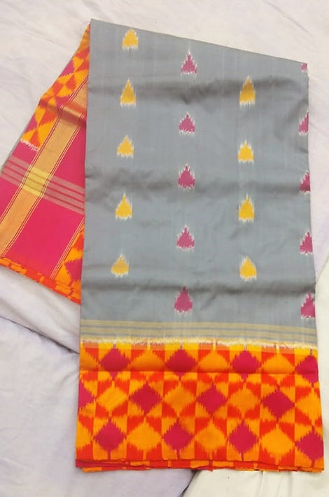 off white with mustard and pink Ikkat Silk Saree with colour variants