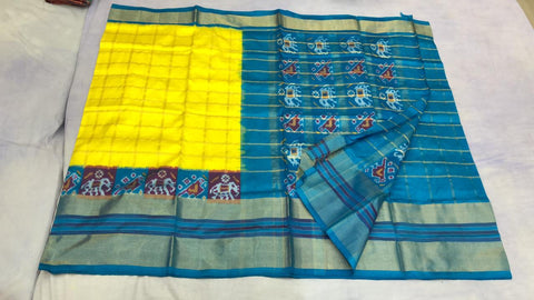 Yellow and blue with zari checks  ikkat silk saree
