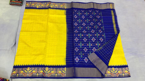 Vibrant Yellow and blue with zari checks  ikkat silk saree