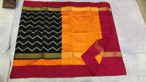 Wavy design black with red  ikkat silk saree
