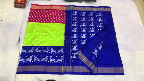 Three shade deers and dots design ikkat silk saree