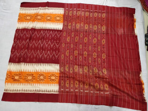 maroon with mustard Ikkat Cotton Saree