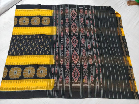 Black and yellow ikkat Cotton Saree